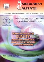 Asigurarea Calităţii – Quality Assurance, Vol. III, Issues 12-13, October 1997 - March 1998