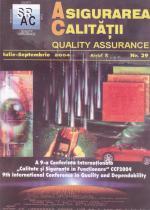 Asigurarea Calităţii – Quality Assurance, Vol. X, Issue 39, July-September 2004