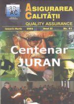 Asigurarea Calităţii – Quality Assurance, Vol. XI, Issue 41, January-March 2005