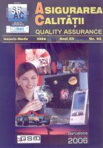 Asigurarea Calităţii – Quality Assurance, Vol. XII, Issue 45, January-March 2006