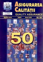 Asigurarea Calităţii – Quality Assurance, Vol. XIII, Issue 50, April-June 2007