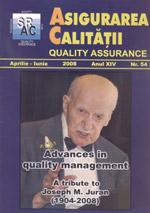 Asigurarea Calităţii – Quality Assurance, Vol. XIV, Issue 54, April-June 2008