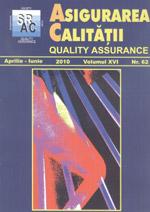 Asigurarea Calităţii – Quality Assurance, Vol. XVI, Issue 62, April-June 2010