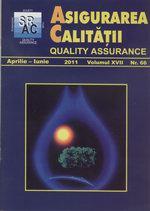 Asigurarea Calităţii – Quality Assurance, Vol. XVII, Issue 66, April-June 2011