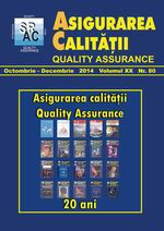 Asigurarea Calităţii – Quality Assurance, Vol. XX, Issue 80, October-December 2014