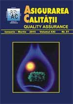 Asigurarea Calităţii – Quality Assurance, Vol. XXI, Issue 81, January-March 2015