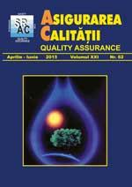 Asigurarea Calităţii – Quality Assurance, Vol. XXI, Issue 82, April-June 2015