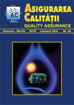Asigurarea Calităţii – Quality Assurance, Vol. XXII, Issue 85, January-March 2016