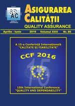 Asigurarea Calităţii – Quality Assurance, Vol. XXII, Issue 86, April-June 2016