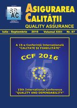Asigurarea Calităţii – Quality Assurance, Vol. XXII, Issue 87, July-September 2016