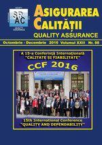 Asigurarea Calităţii – Quality Assurance, Vol. XXII, Issue 88, October-December 2016