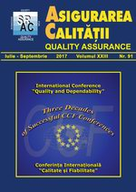 Asigurarea Calităţii – Quality Assurance, Vol. XXIII, Issue 91, July-September 2017