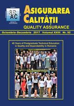 Asigurarea Calităţii – Quality Assurance, Vol. XXIII, Issue 92, October-December 2017
